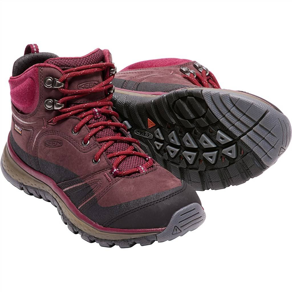 KEEN - W Terradora Leather Mid WP - wine/rhododendron