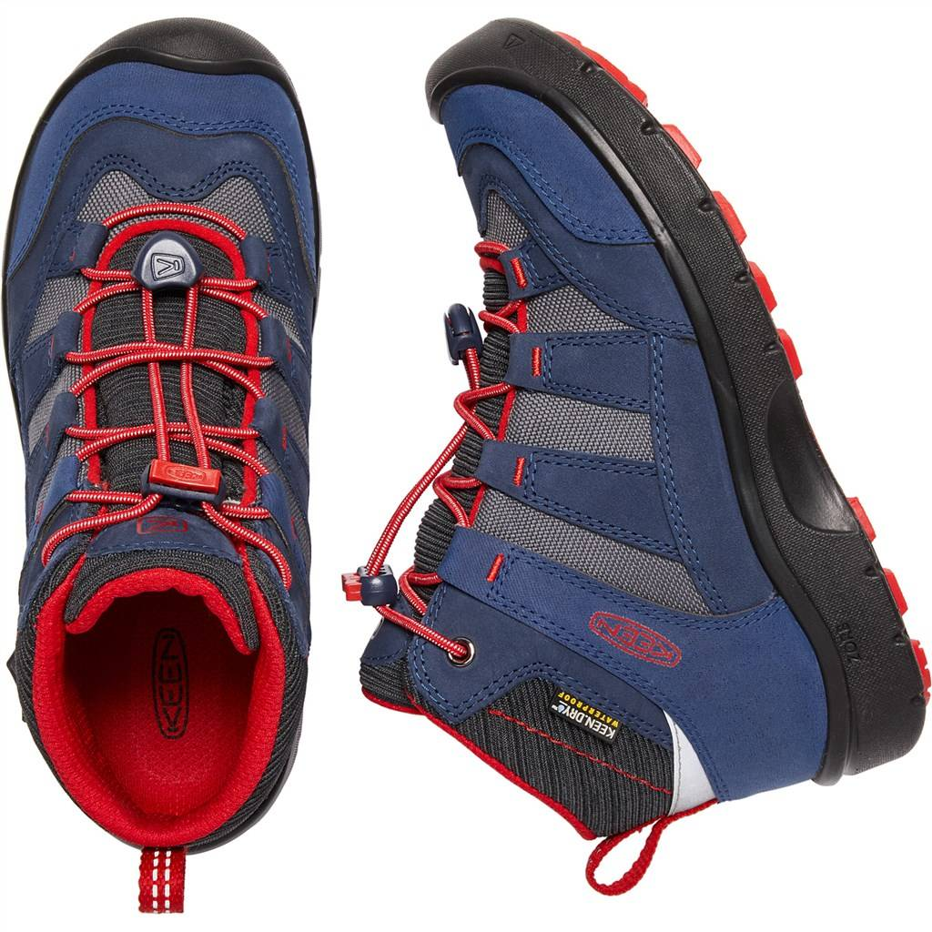 KEEN - Y Hikeport Mid WP - dress blues/firey red